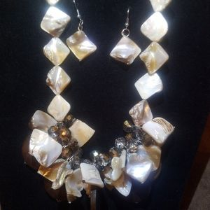 beach seashell necklace and earrings